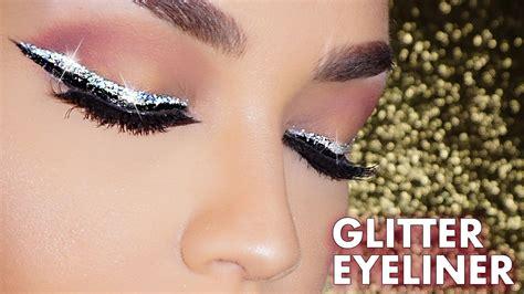 glitter eyeliner tutorial youtube how to easy glitter winged eyeliner makeup tutorial