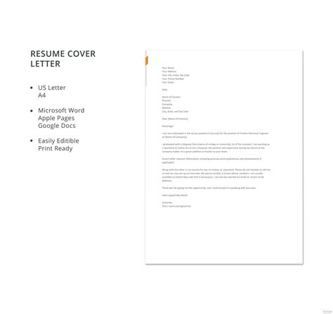 fresher electrical engineer resume cover letter