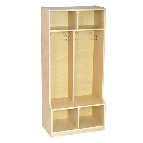 bench with cubbies ecr4kids 2 section coat locker with bench naturals 4