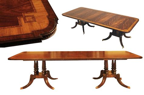 Dining Table That Seats 10 Mahogany Dining Table With Inlay Seats 10 12 Birdcage Pedestals Ebay