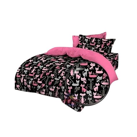 Set Sprei by Jual Ellenov Motif Cat Katun Set Sprei Pink