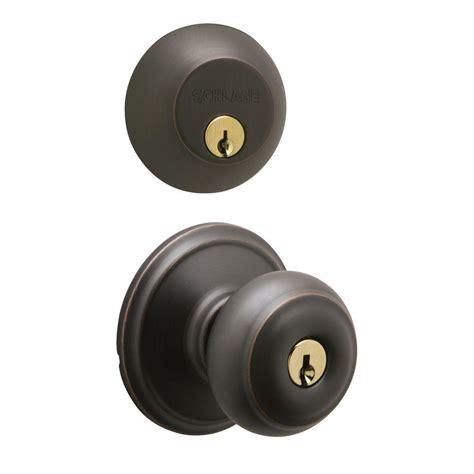 schlage georgian single cylinder aged bronze knob and