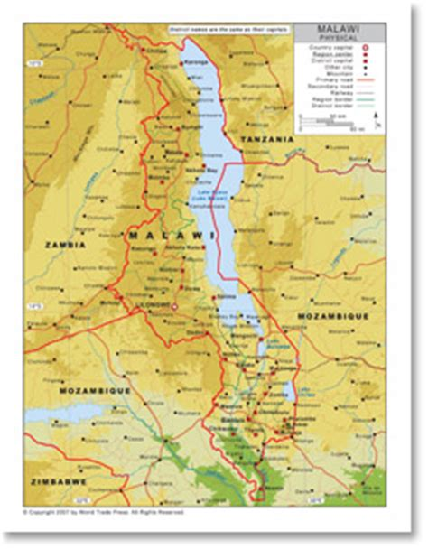 geographical map of malawi physical map of malawi