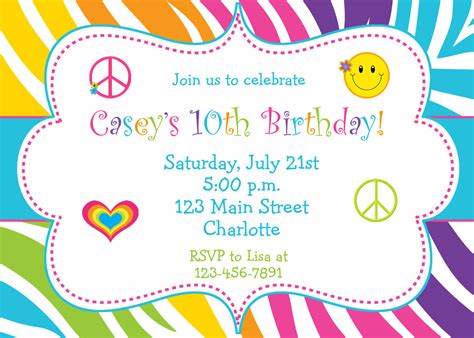birthday invitation card sle free 10th birthday invitation letter and card idea with