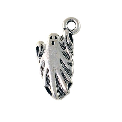 ghost charm 24x13mm pewter antique silver plated