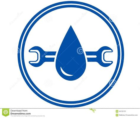 Blue Plumbing by Icon With Water Drop And Wrench Stock Vector Image