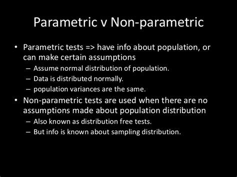 Types Meaning non parametric tests