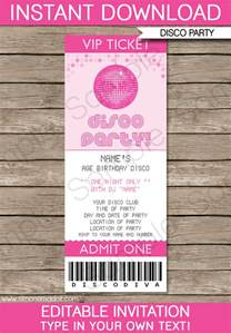 ticket invitations template free disco ticket invitations birthday template