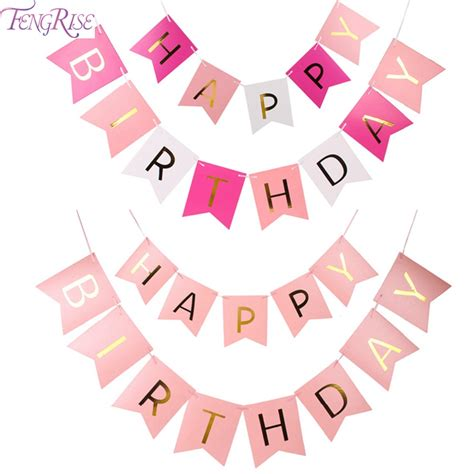 Flag Banner Anniversary Pink Dan Blue fengrise glitter happy birthday bunting banner gold letters hanging garlands pastel pink string