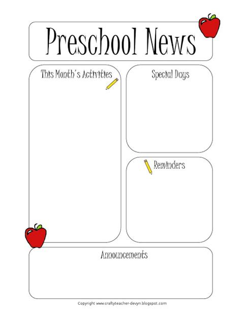 Kindergarten Parent Letter Template preschool newsletter template the crafty