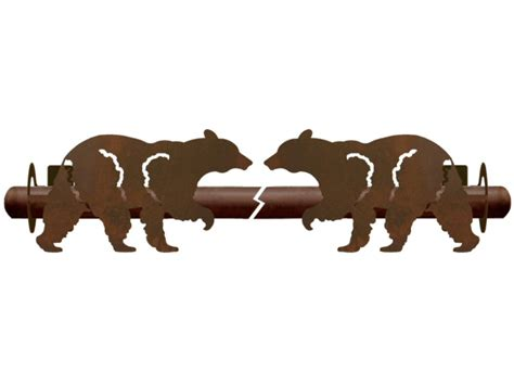 bear curtain rods walking black bear metal curtain rod holders rustic