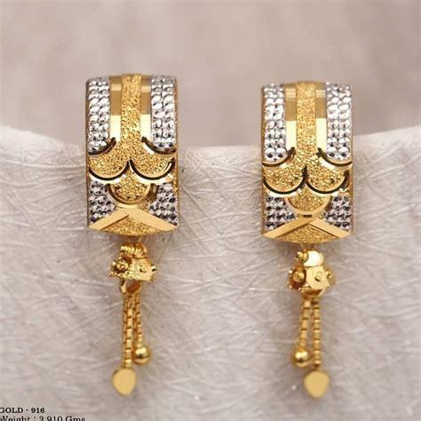 designer light weight gold latkan earrings kurti blouse