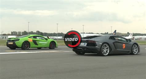 Lamborghini Aventador Drag Race Mclaren 650s And Lamborghini Aventador Meet For A Ol