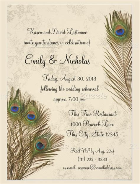 peacock themed wedding invitations template resume builder