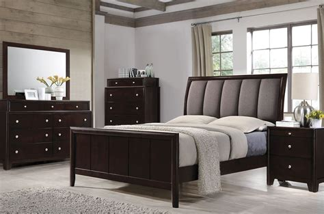 madison bedroom set madison dark merlot panel upholstered bedroom set 204881q