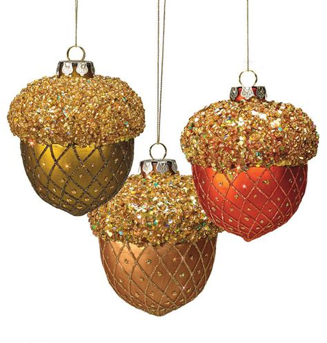 set of six woodland twiggy brown christmas ornaments