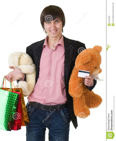 Gift Cards For Young Men - man with gifts and credit card royalty free stock image image 22760336