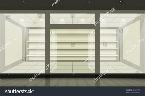 Shop Front Windows And Doors Shop With Glass Windows And Doors Front View Vector Exterior 91087757