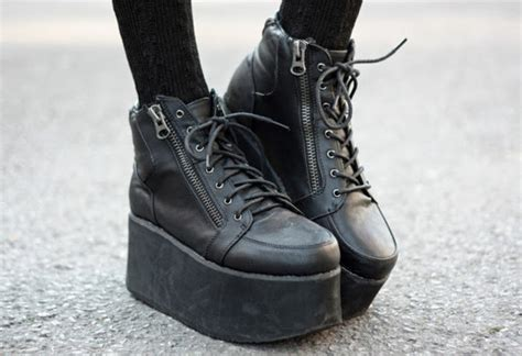 shoes flatforms zip rock 90s style platform