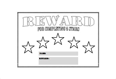 reward chart template word reward chart template 13 free word excel pdf format