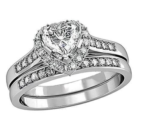 1.80 Cttw Heart CZ Women's Stainless Steel Wedding Ring