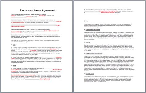 free restaurant lease agreement template restaurant lease agreement template business templates