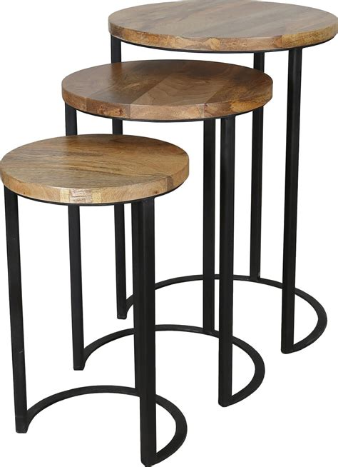 industrial table light nest of 3 industrial style tables made with light mango