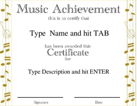templates for music certificates award certificate templates