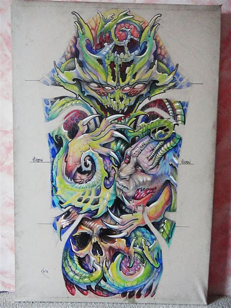 organic alien horror tattoo sketch  designer xenija