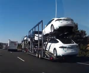 Tesla Hit Songs Car Hauler Of Tesla Vehicles Nearly Hit By