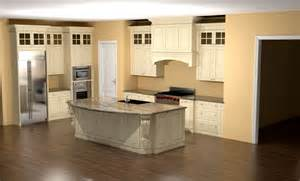 glazed kitchen with large island corbels and custom