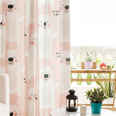 pink patterned curtains online pink bear patterned cute bedroom curtains for kids