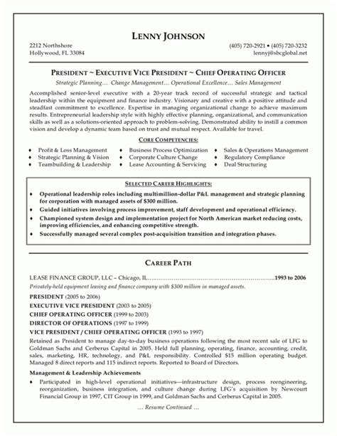 professional executive resume sle 2015 2016 resume 2015