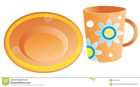 Cup On The Plate plates and cups stock vector illustration of plates