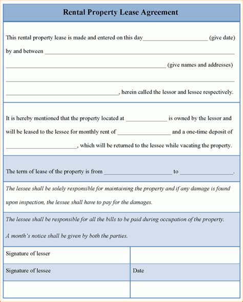 property lease agreement template free 8 rental lease printable receipt