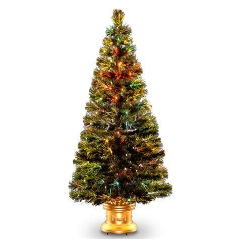 fibre optic xmas trees kmart national tree company 60 quot fiber optic radiance fireworks tree with gold base seasonal
