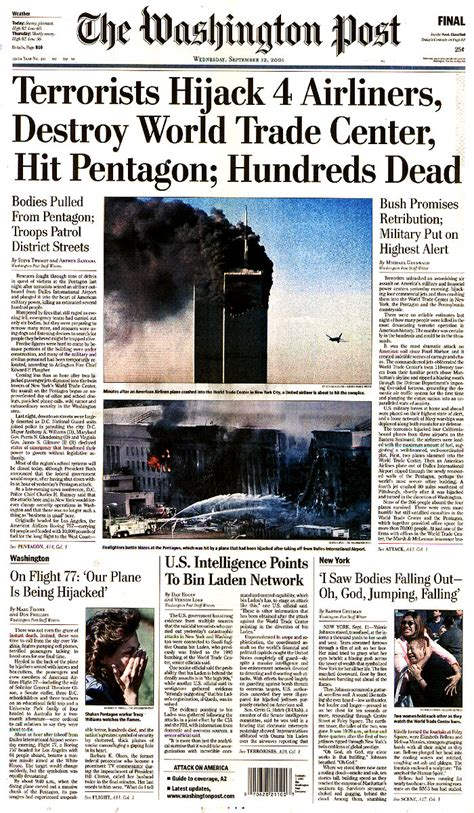 Essay About 9 11 Attack by Newspaper Front Pages From September 12 2001 9 11 Remembered Ten Years On Abc News