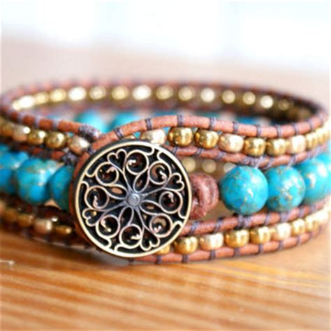 boho ls for sale mosaic agate boho leather wrap bracelet from olenadesigns on
