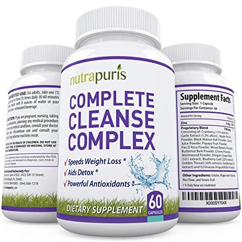 Cleanse Detox Gentle Weight Loss Supplement 60 Capsules by 1 Best Cleanse And Parasite Cleanse Colonic Detox