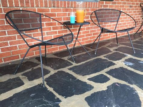 Iron Mesh Patio Furniture Mid Century Modern Saltorini Style Iron Mesh Patio Set Epoch