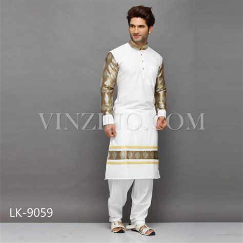 Designer White designer white kurta pajama with golden sleeves
