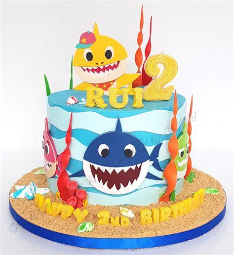 baby shark fondant celebrate with cake