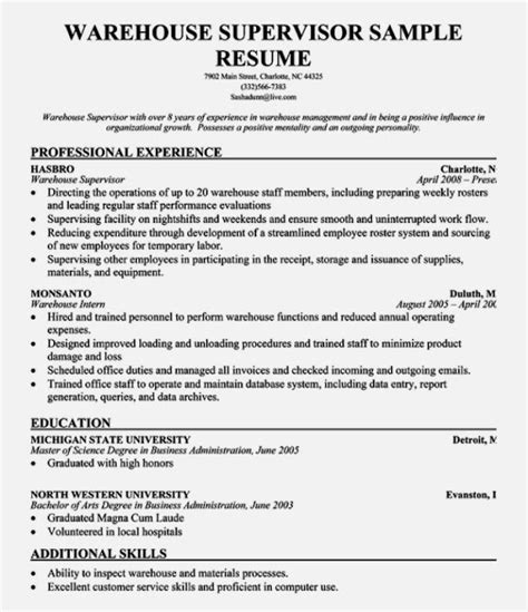warehouse supervisor resume sle warehouse associate resume exle agriculture wendy s crew