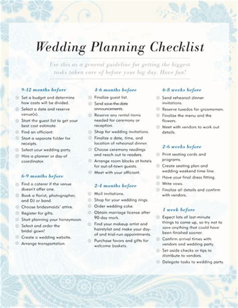 free wedding planning checklist template wedding planning checklist free printable checklists to