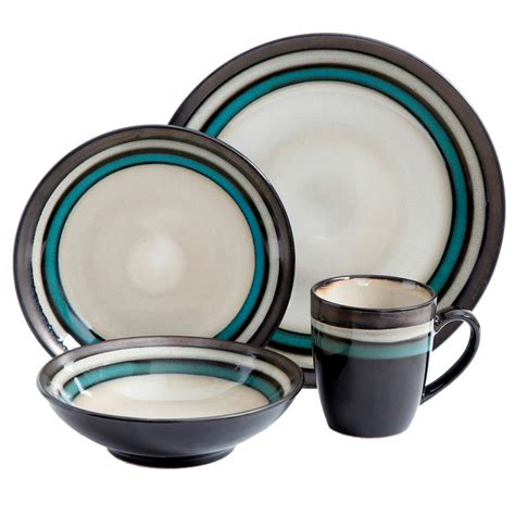 gibson legacy 16 piece retiro teal dinnerware set 98598621m the home depot