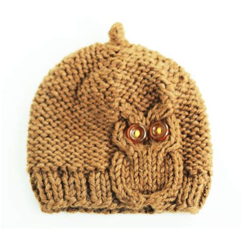 knitted owl hat owl cable knit hat in chocolate brown