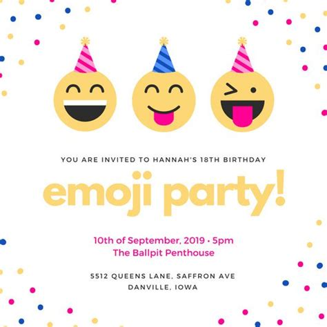 Customize 1 023 18th Birthday Invitation Templates Online Canva Emoji Birthday Invitation Template