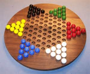 wooden marble game board checkers w glass marbles as