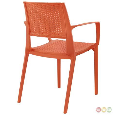 patterned armchair astute modern plastic criss cross patterned low back dining armchair orange