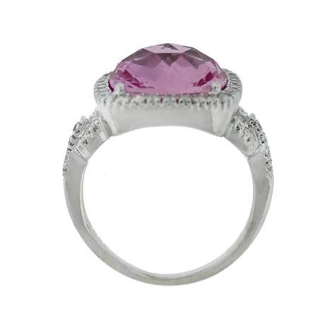 14kt white gold checkerboard cut pink topaz ring